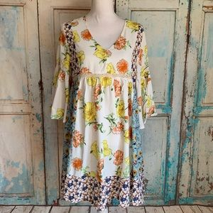 Floral color block bell sleeve swing dress